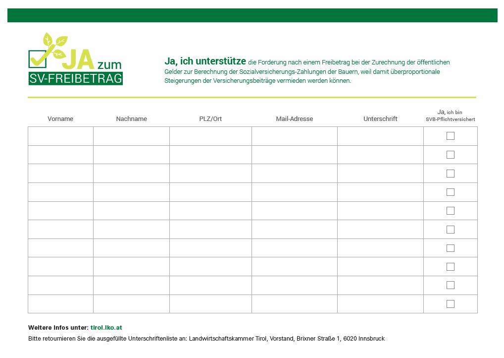 Unterschriftenliste_Tirol ©Archiv